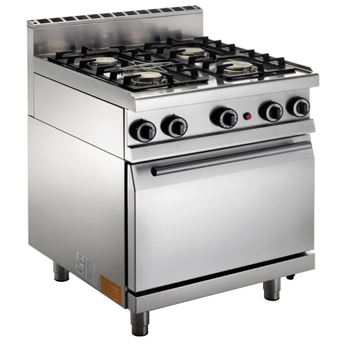 Cucina a gas 4 fuochi su forno elettrico GN 2/1.