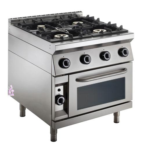 Cucina a gas top stampato 4 fuochi su forno ventilato a gas
